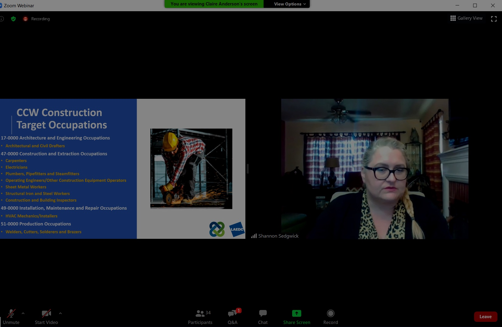 CCW hosted interactive webinar for report launch about construction industry occupations